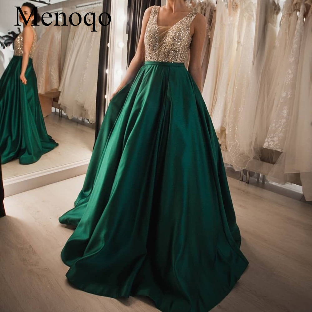 abendkleider Party Gowns Formal Wear V Neck Satin Vestido De Festa Elegant Green Prom Dresses Beaded Sequins