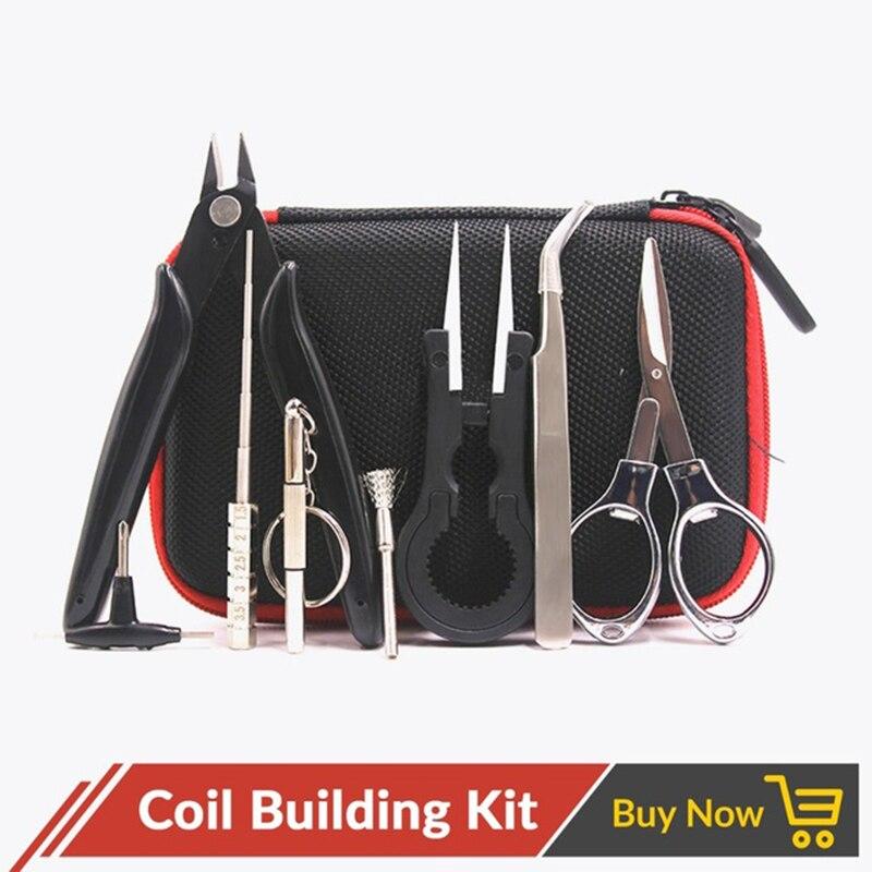 Volcanee X9 Mini Vape Tasche Tasche DIY Tool Kit Zangen Draht Spule Jig Master Für Elektronische Zigarette Zubehör DIY Werkzeug kit Vape