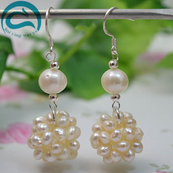 2018 Fashion White Natural Freshwater Pearl Drop Earrings Hot Selling 925 Sterling Silver Jewelry Pearl Ball Fine Earrings faux pearl ball drop earrings