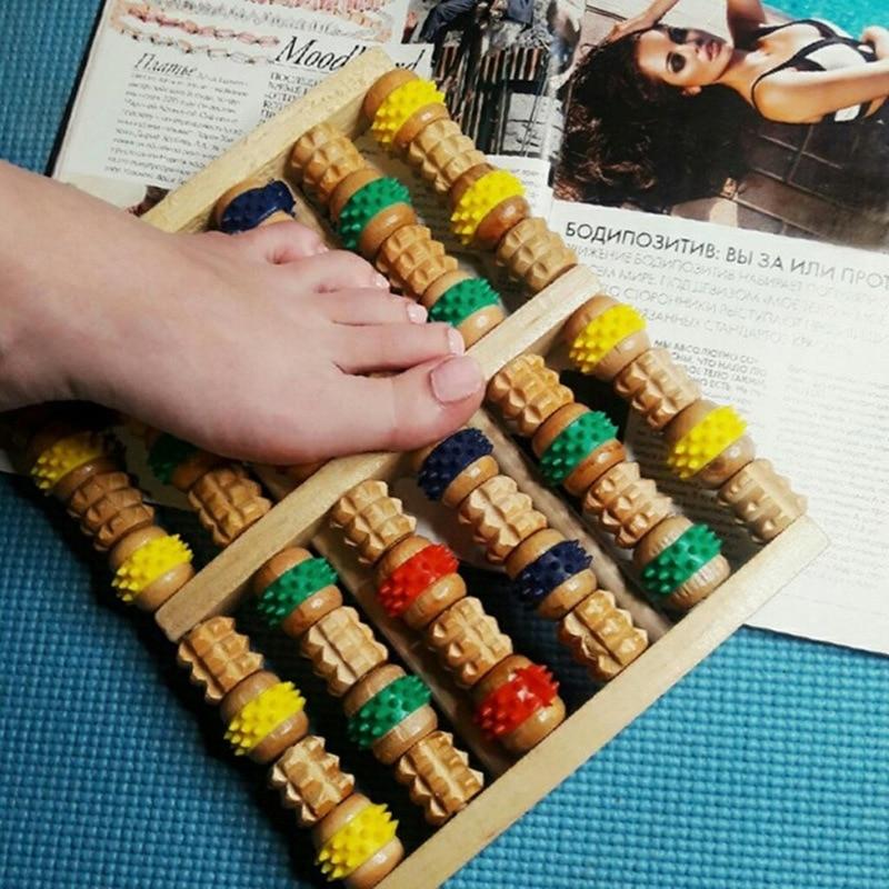 Wooden Foot Massage device Six rows foot massage Foot Roller Massager Reflexology Acupressure Reflexology Stress Roller