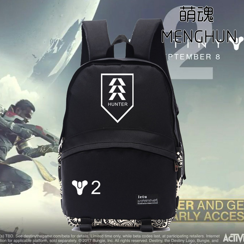 New video game Tv game concept backpack DESTINY 2 team logo printing backpack WARLOCK TITAN HUNTER Destiny backpacks NB180 opk punk cross bracelet for men length 16 5 21 cm mesh strap band stainless steel black gold color male wrap bracelets gh878
