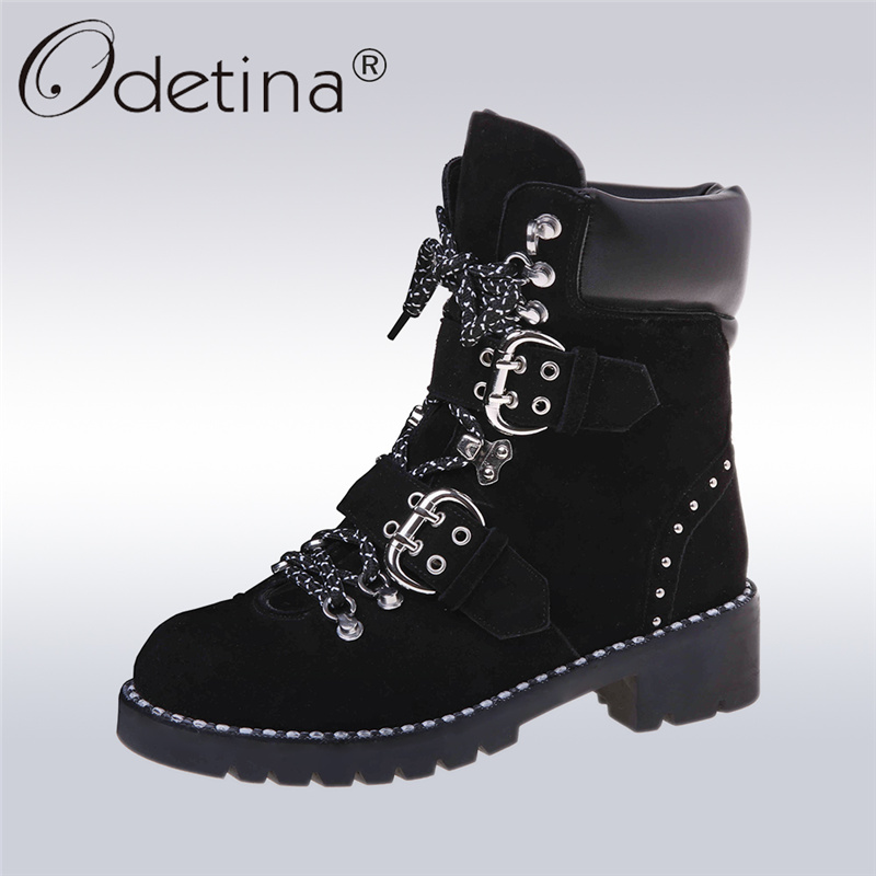 Odetina 2017 Women Genuine Leather Lace Up Ankle Boots For Ladies Round Toe Chunky Heel Buckle Strap Booties Rivet Plus Size 43 2017 autumn winter new womens leather ankle boots ladies black short boots round toe high block heel zip up booties size