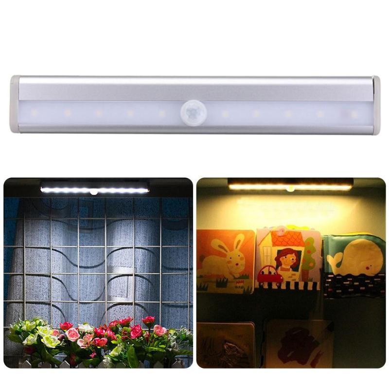LED Cabinet Light PIR Motion Sensor Wireless Closet Night Light Lamp 10 LED Induction Wardrobe Step Lights Bar Lighting