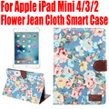 10pcs/Lot Smart Case For Apple iPad Mini 4 3 2 Flower Jean Cloth PU Leather Cover for iPad mini4 With Credit Card slots IM406