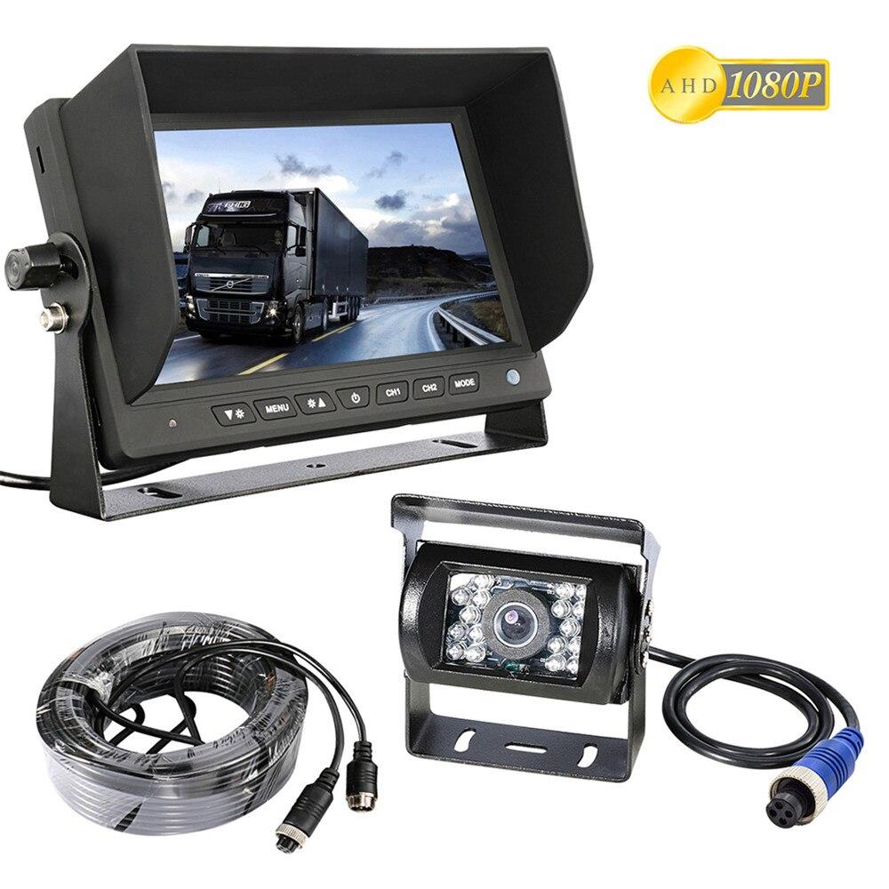 Accfly AHD 1080 p SONY CCD de voiture renversant le support cam vue arrière caméra de recul pour Camions bus Remorque RV avec HD moniteur