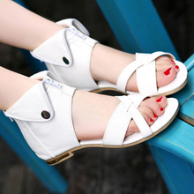 Fashion Women Sandal PU Leather Gladiator Casual Shoes Female Flats Open Toe Zipper Summer Sandals new arrivals women shoes fashion gladiator casual lace up sandals soft leather cross tied summer flats sandal boots size 34 47