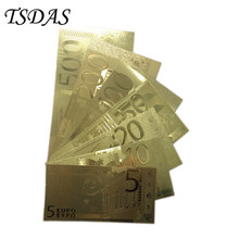 7pcs/lot Gold Plated Gift Full Sets EURO 5-500 Golden Fake Euro Notes For Collection Pure Gold Banknote