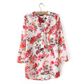 2016 Spring new style women fashion flower print three quarter sleeves shirt, ladies elegant casual v-neck chiffon blouse tops