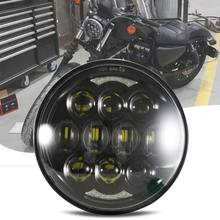 5-3/4 5.75 LED Headlight for  Dyna Street Bob Super Wide Glide Low Rider Night Rod Train Softail Sportster 5 75 round headlamp 5 3 4 inch led headlight drl for harley dyna low rider sportster softail breakout sportster superlow