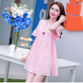 Korea Maternity summer fashion strapless loose big yards hollow lace short-sleeved summer dress for pregnant women