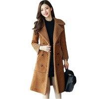 Женские Большие размеры замшевые зимняя куртка длинное пальто плюс шерсть бархатные Thicke двубортный дизайн парка верхняя одежда qh0983