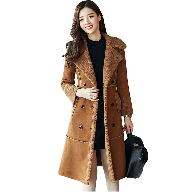 women large size leather Suede jacket winter long coat plus wool velvet thicke double-breasted design parka outerwear QH0983