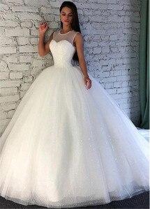 Image 4 - הניצוץ נצנצים טול תכשיט מחשוף כדור שמלת חתונת שמלה עם Beadings Sleevelss כלה שמלות vestido דה festa לונגו