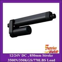 High Quality 850mm Long Stroke 3500N 350KGS Heavy Load 8mm S Speed 12V DC Black Linear