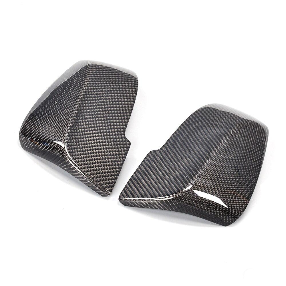 Le miroir latéral de voiture de Fiber de carbone de série de X couvre la coquille de chapeaux pour BMW E84 X1 SUV 4 portes 13-17 conduite gauche Non M Chrome ABS de voiture