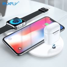 Caricabatterie Wireless RAXFLY 3 in 1 per iPhone 8 X XS Max XR XS 10W ricarica Wireless per Apple Watch Airpods Pad caricatore Qi USB