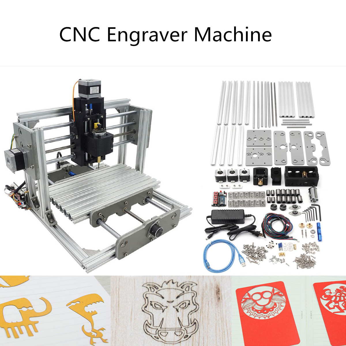 DIY Mini CNC Engraving Machine Laser Engraver USB Desktop Laser Cutting Milling Wood Acrylic PCB CCL Carving Machine