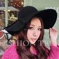 La moda de Nueva Mujeres de La Vendimia de Las Señoras Floppy Amplia Lana de Fieltro de Ala Fedora Cloche Hat Cap 6 Envío Libre del Color