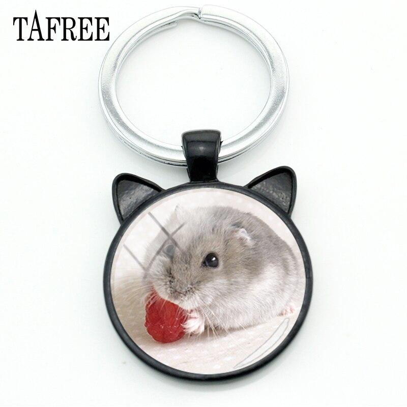 TAFREE Hamster Keychains Fashion Black Ear Keychian Keyring Best Friend Men Women Metal Pendants Key Chain Car Key Jewelry QF506