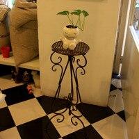 Iron flower stand French single tier flower balcony plant flower pot rack diaolan flower