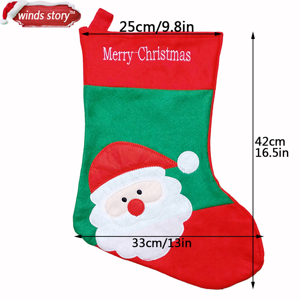 Uncategorized Christmas Stocking Story 3pcs cute christmas stocking decoration santa claus gift candy bag indoor xmas decor embroidery sock rooms tree strap