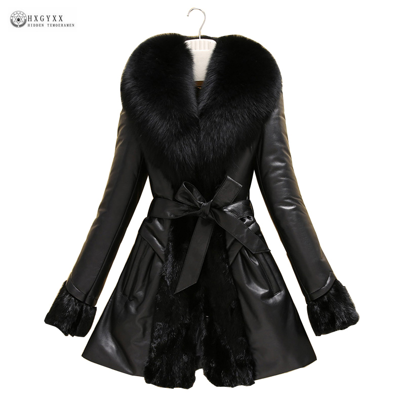 New Genuine Leather Winter Coat Large Fur Collar Belt Sheepskin Outerwear M 6XL Plus Size Leather