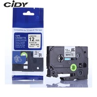 CIDY Compatible p-touch tz231 tze231 12mm Black on white label tape tze-231 tz-231 for brother printer tze131 431 531 631 731 Printer Ribbons