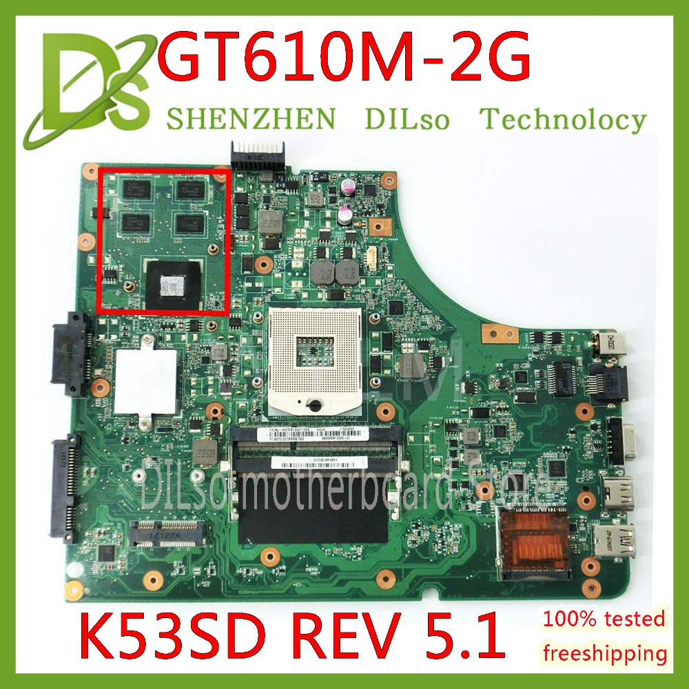 KEFU K53SD For Asus K53SD K53S K53E K53SE Motherboard  REV 5.1 Laptop Motherboard With Graphics Card GT610M 2GB Test Original