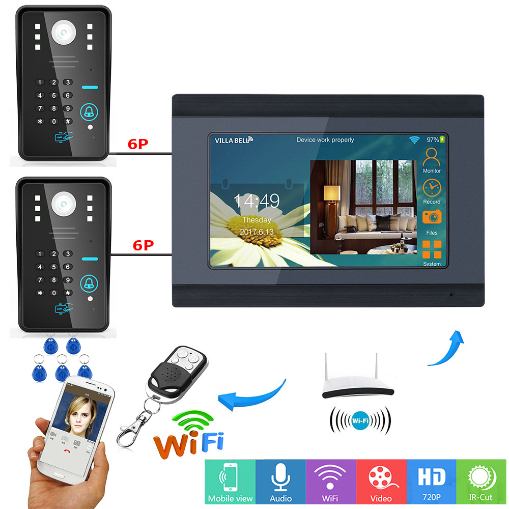 7inch Wired  IP Wifi RFID Password Video Door Phone Doorbell Intercom Entry System With 2 X IR-CUT 1000TVL Wired Camera