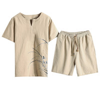 Feitong Summer Fashion Men's Cotton And Linen Short Sleeve Shorts Set Suit Tracksuit