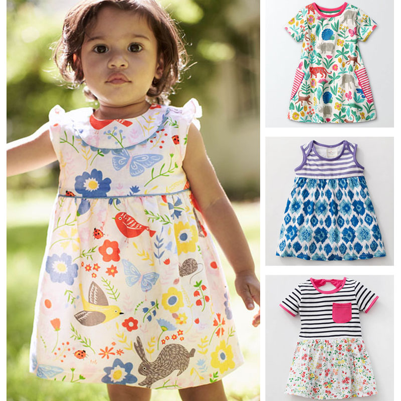 New 2018 Brand Quality 100% Cotton Baby Girls Dress Kids Children Clothing Baby Girl Clothes Summer Bebe Kids Dress Girl t shirt 2 7y girls clothing summer girl dress children kids berry dress back v dress girls cotton kids vest dress children clothes 2017
