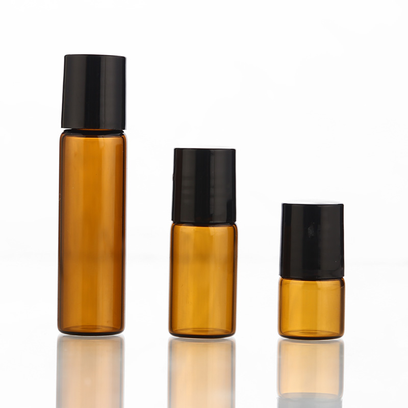 50pcs/lot 1ml 2ml 3ml 5ml Amber Perfume Glass Roll On Bottle With Glass/Metal Ball Brown Roller Essential Oil Vials