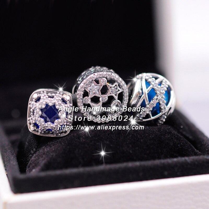 3 pièces 2018 mode S925 argent bleu étoile série charmes perles ensemble de bijoux idéal pour bracelet colliers bijoux faisant femme cadeau