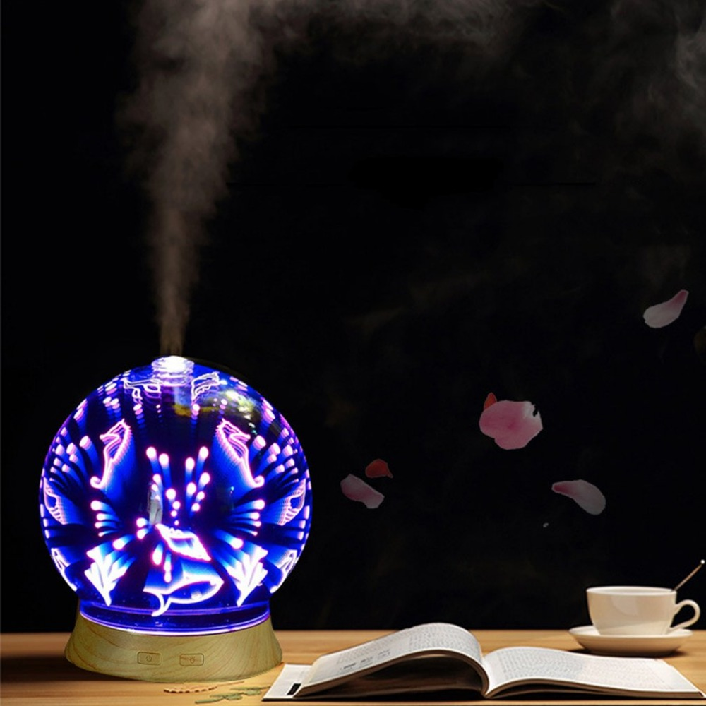 3D Effect Glass With Various Pattern Humidifier Multi Colours LED Aroma Essential Oil Diffuser Low Noise Mist Maker