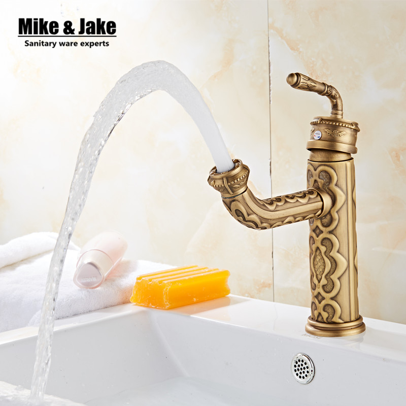 Antique brass bathroom basin faucet vintage basin mixer sink tap torneira banheiro basin mixer water antique faucet GYD6861 free shipping wholesale and retail water tap black antique brass bathroom basin faucet tap swivel spout vanity sink mixer