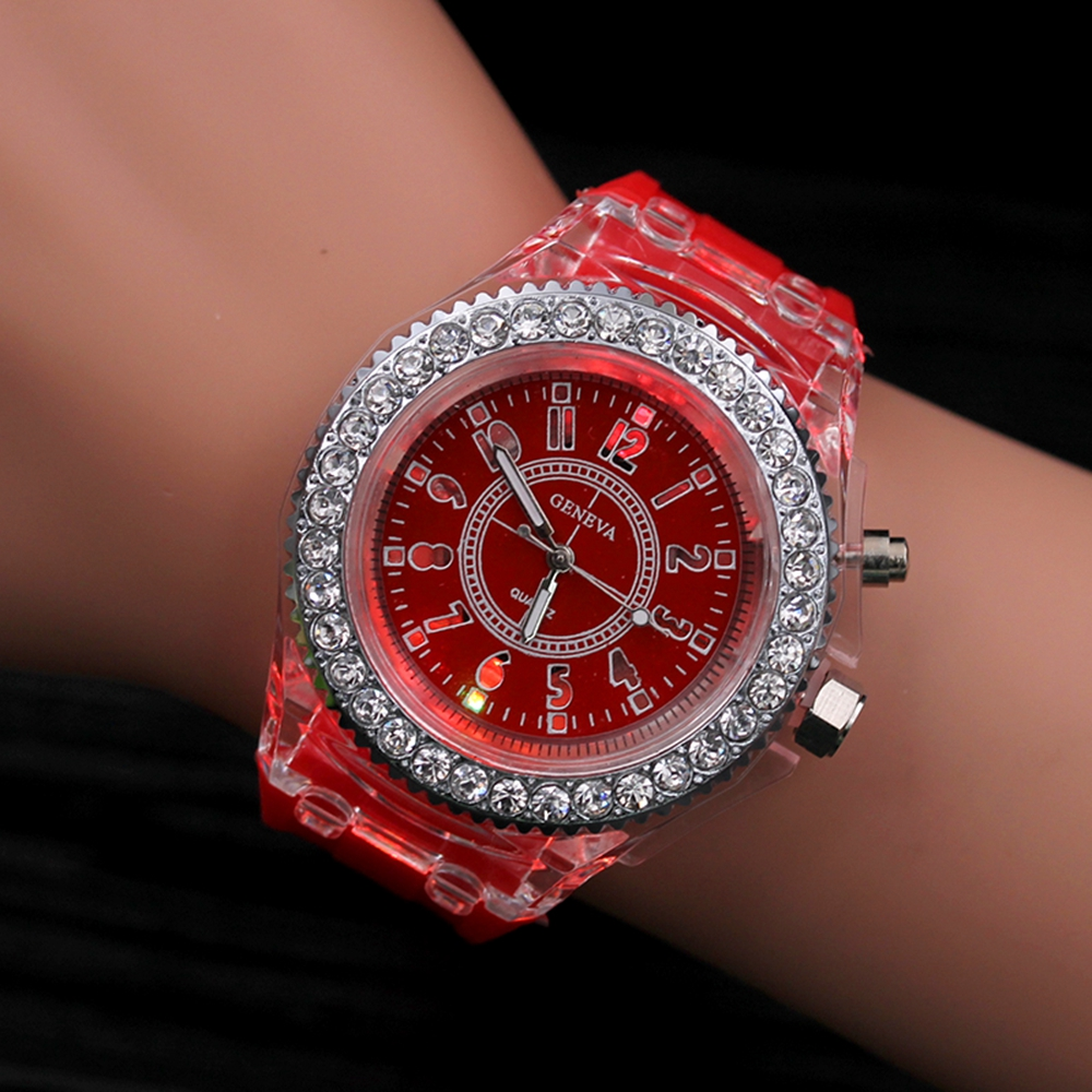 a3bf4e5ca LED Night Light Quartz Watch 2017 Fashion Geneva Silicone Sports Glowing  Women's Watches For Students Children Kids Gift Hodinky-in Women's Watches  from ...