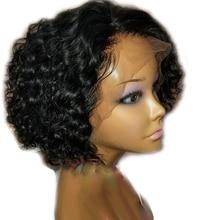 Sunnymay вьющиеся 13x4 Remy человеческие волосы парик предварительно выщипанные отбеленные узлы бразильский парик на кружеве 130% короткий боб парик натуральный черный