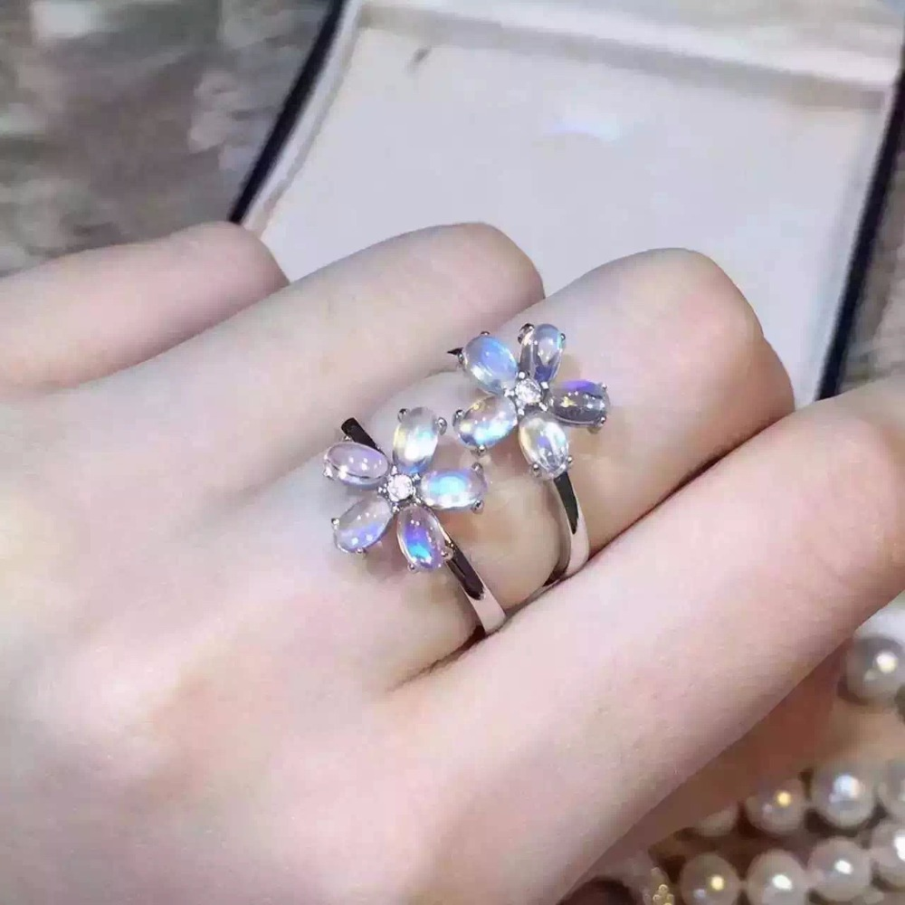 Natural blue moonstone ring, flower shape, fresh and beautiful, 925 silver exquisite,Natural blue moonstone ring, flower shape, fresh and beautiful, 925 silver exquisite,