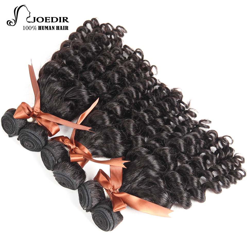 Joedir Hair Funmi Curly 3 Bundles Peruvian Non Remy Human Hair Bundles Weave Natural Color Hair Extensions Free Shipping