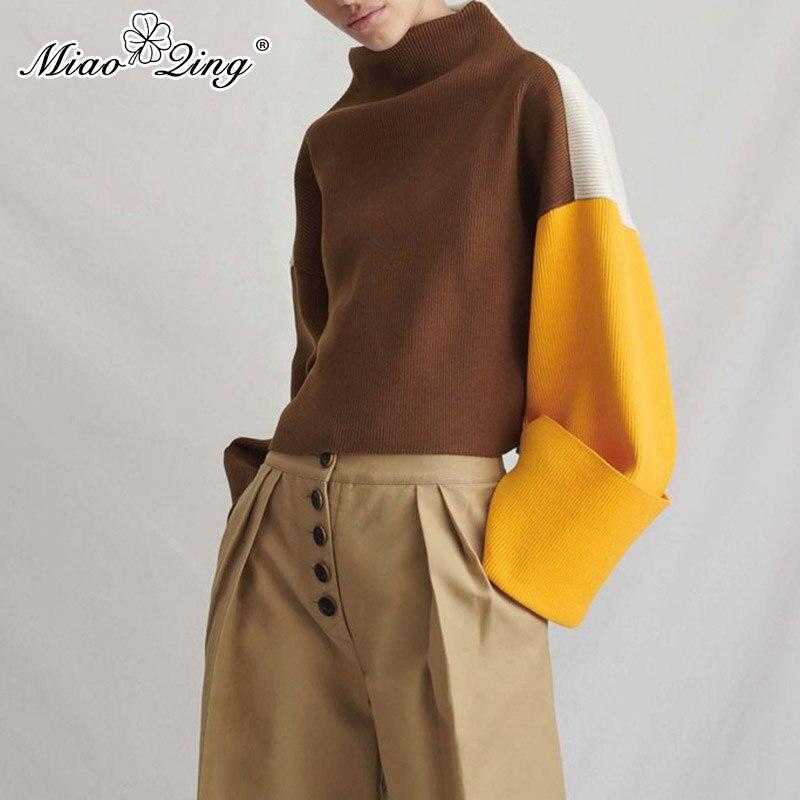 Herbst Farbe Multi ssig Miaoqing L Pullover Weibliche Topbergro Strickpullover Frauen Kulturen Befree Patchwork en Rollkragen Koreanische srdBCthQx