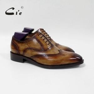 Image 5 - cie Square Toe Brogue Oxford 100%Genuine Calf Leather Breathable Bespoke Leather Shoe Custom Leather Men Flat  Handmade OX 02 16