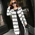 2015 Estilo de Moda de Inverno das Mulheres Novas Grandes Estaleiros Outono Casaco Longo casaco Cardigan Outerwear Blusão de Malha Plus Size