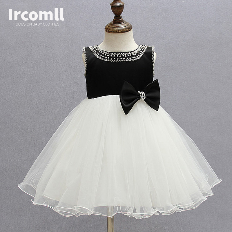 Princess Bow Girl Party Dress  Summer 2017 Sleeveless Beach Wedding White Flower Girl Dresses Kid Clothes For Girls 2-10 Year