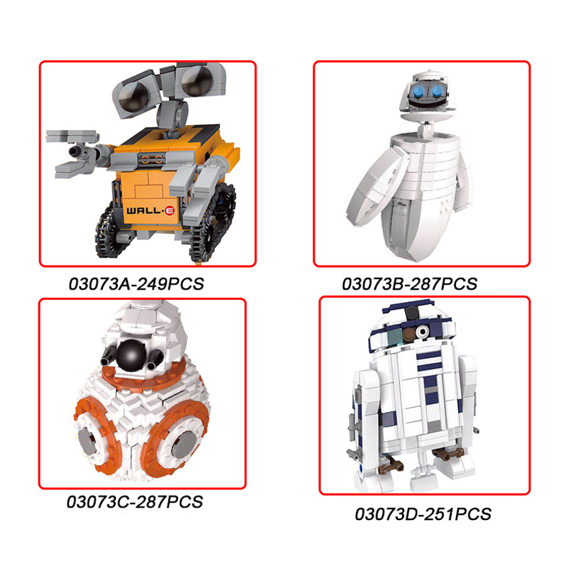 4 Style Robot Building Blocks Compatible Lepin Star Series War WALL E Model Education Bricks Toys For Children Christmas Gifts lepin 22001 pirates series the imperial war ship model building kits blocks bricks toys gifts for kids 1717pcs compatible 10210
