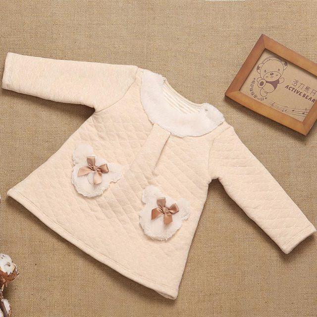 Bebê recém-nascido de Algodão Gril Manga Comprida O Pescoço Arcos Bonito Pullover Casaco Outwear Bebê Jaqueta 2016 Moda Casual Outono Inverno Quente