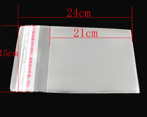 DoreenBeads 100 PCs Clear Self Adhesive Seal Plastic Bags 15x24cm (B04011), Yiwu