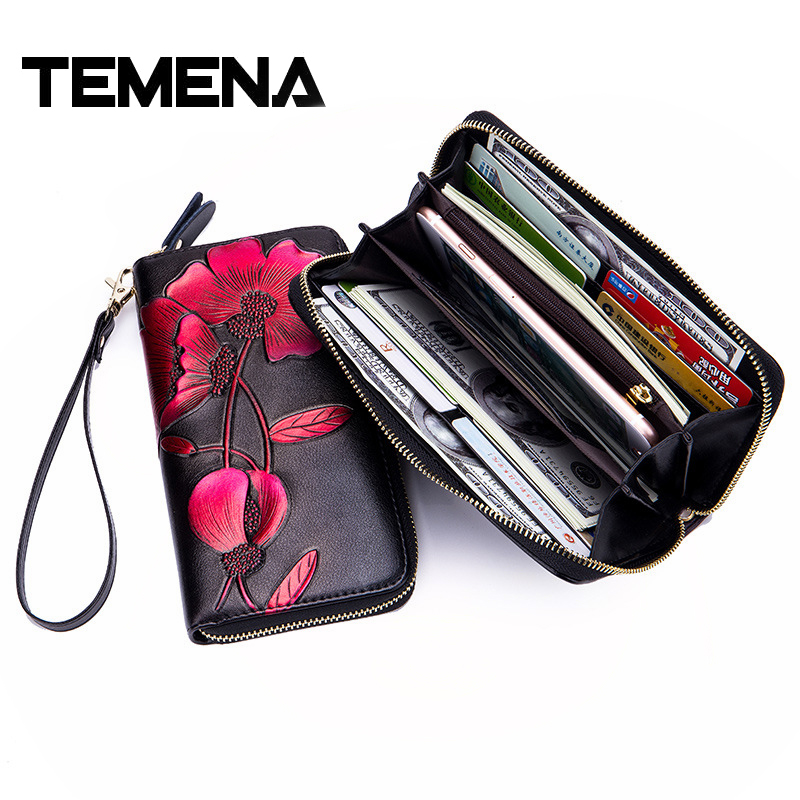 Temena Split Leather Women Zipper Wrist RFID Long Wallets Lady Fashion Handwork Painted Flower Womens Card Wallet Purse AWL027