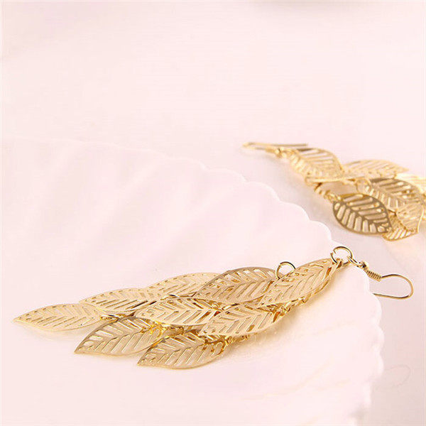 2017 Hollow Out Simple Gold Earring Designs For Women Leaves Indian Jhumka