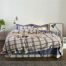 2017 Washed Cotton Fabric Plaid Bedding Set Queen King Size Bed Sheets Pillowcase Duvet Cover Double Bed Home Textiles Set