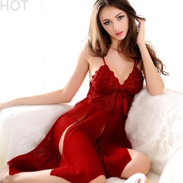 Hot Lady Sexy Lingerie Lace Transparent Dress +G String Sleepwear Underwear Uniform Costume Set